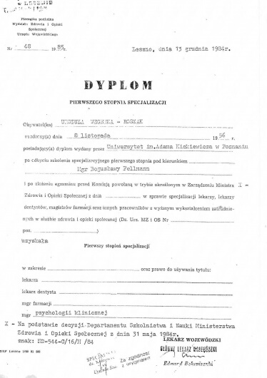 Dyplom - specjalizacja